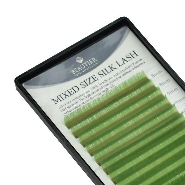 Ресницы Beautier Silk (Шелк) Light Green Микс 16 линий 8-16 мм Изгиб C D