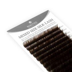 Ресницы Beautier Silk (Шелк) Коричневый Микс  16 линий 8-16 мм Изгиб D