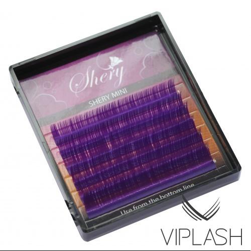 Ресницы Shery Silk (Шелк) 6 линий Фиолетовый Микс Изгиб L